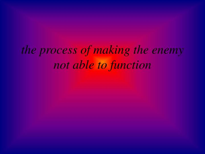 the process of making the enemy not able to function