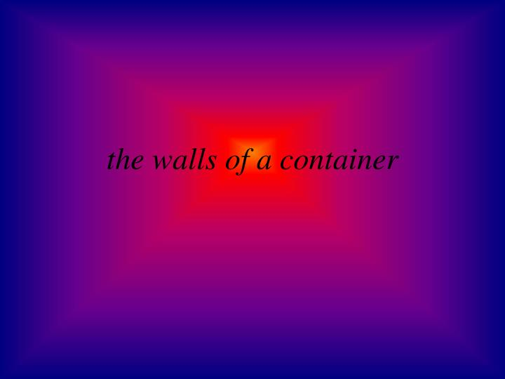 the walls of a container