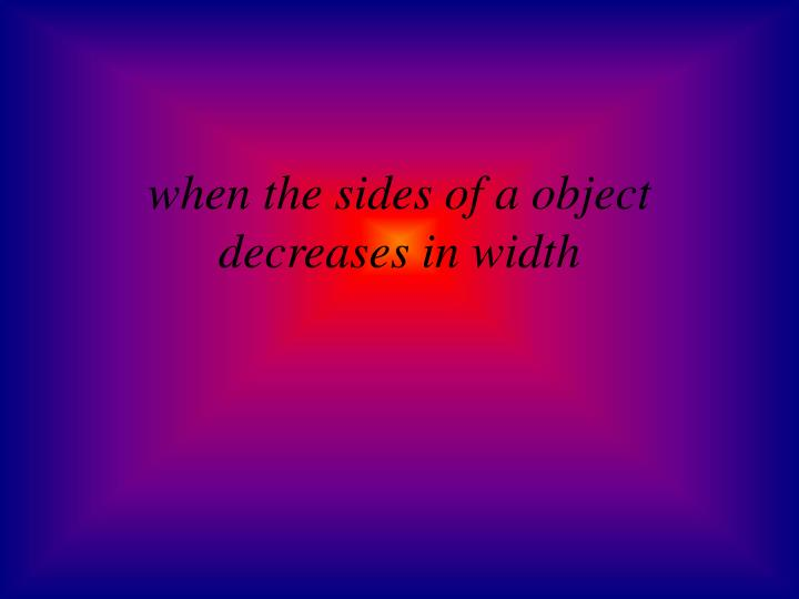 when the sides of a object decreases in width