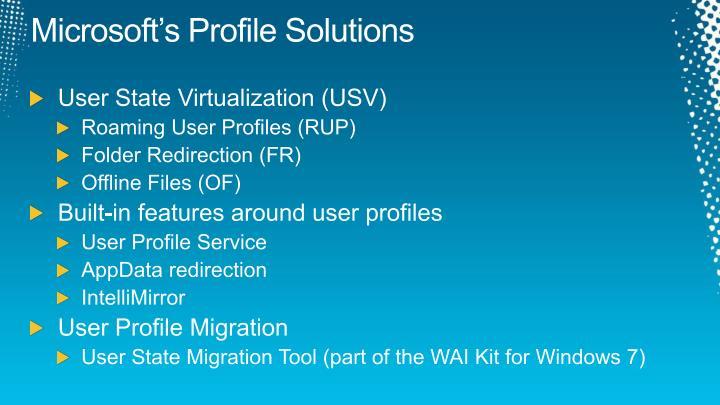 Microsoft's Profile Solutions