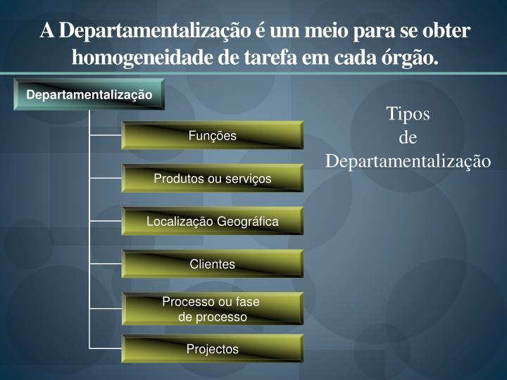 A Departamentalização é um meio para se obter homogeneidade de tarefa em cada órgão.