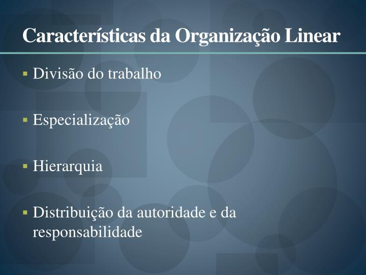 Características da Organização Linear