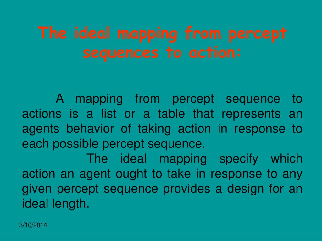 The ideal mapping from percept sequences to action: