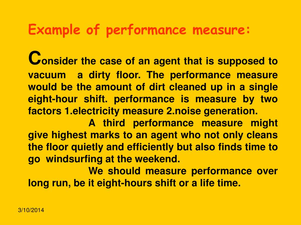 Example of performance measure: