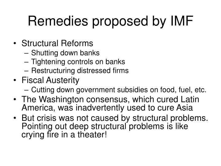 Remedies proposed by IMF