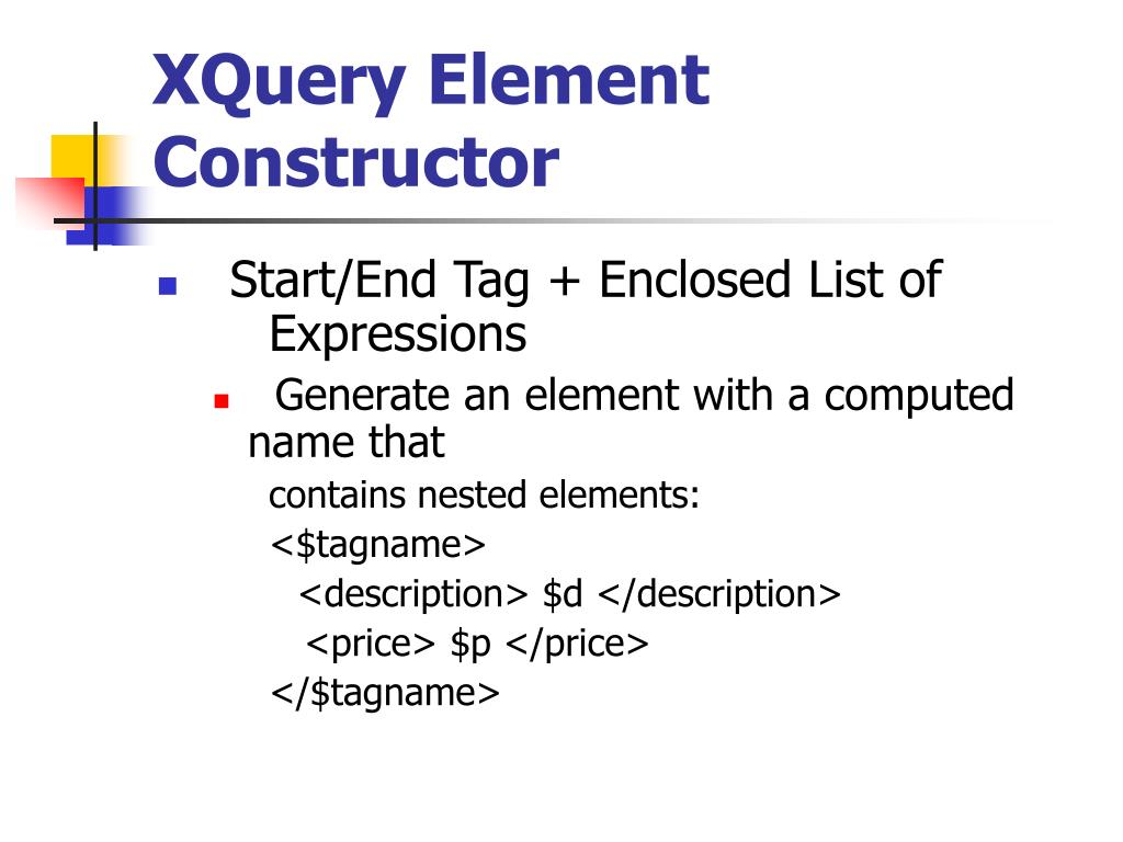 XQuery Element Constructor