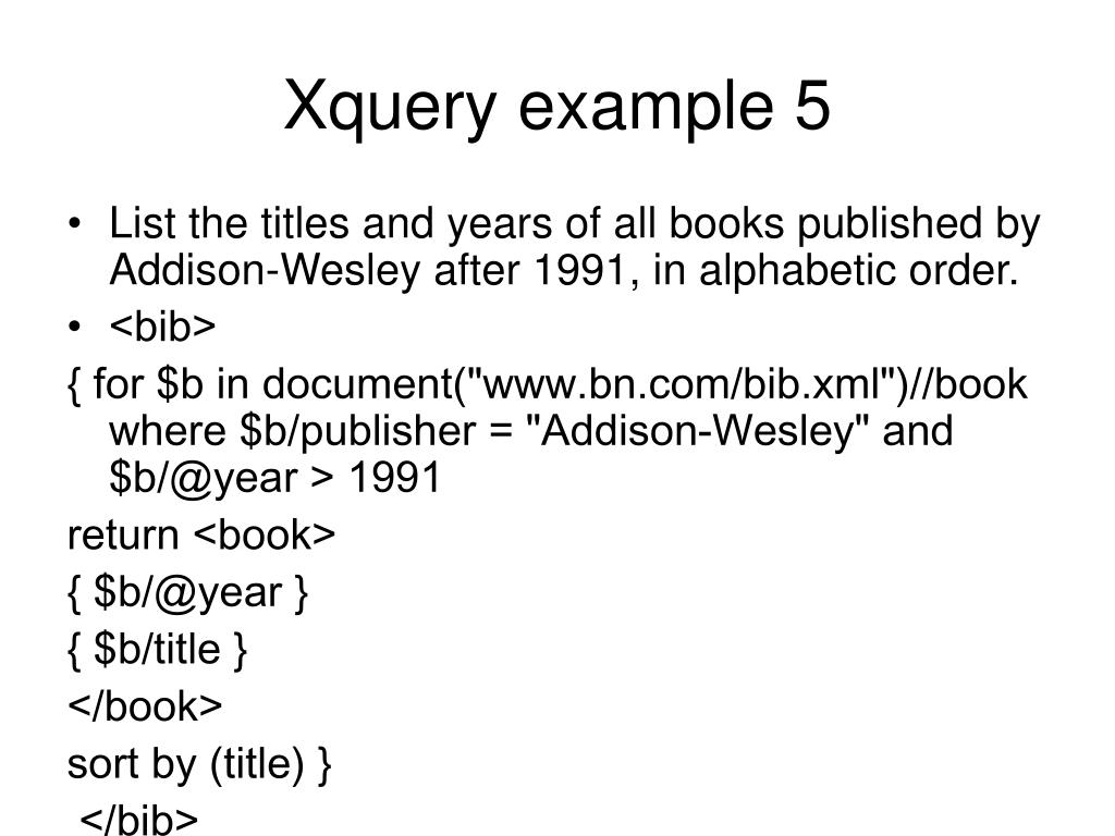 Xquery example 5