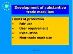 development of substantive trade mark law25