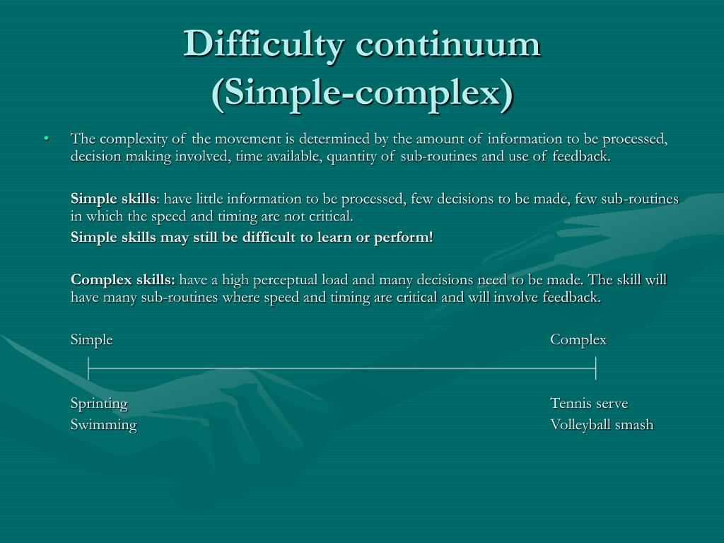 Difficulty continuum