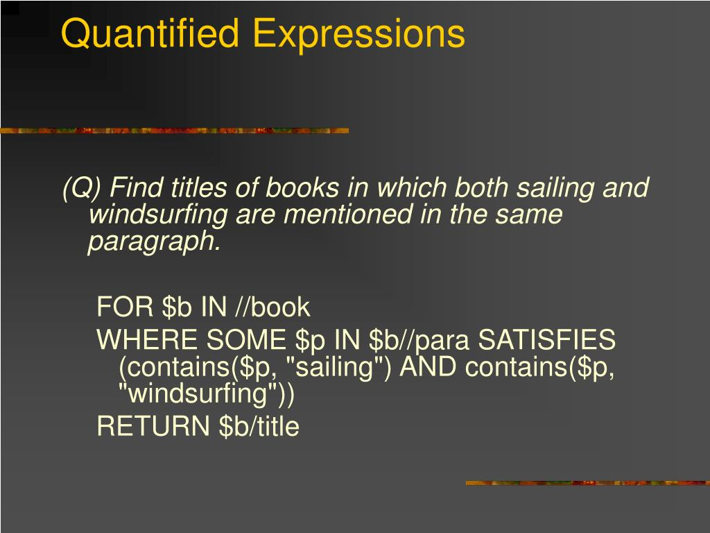 Quantified Expressions