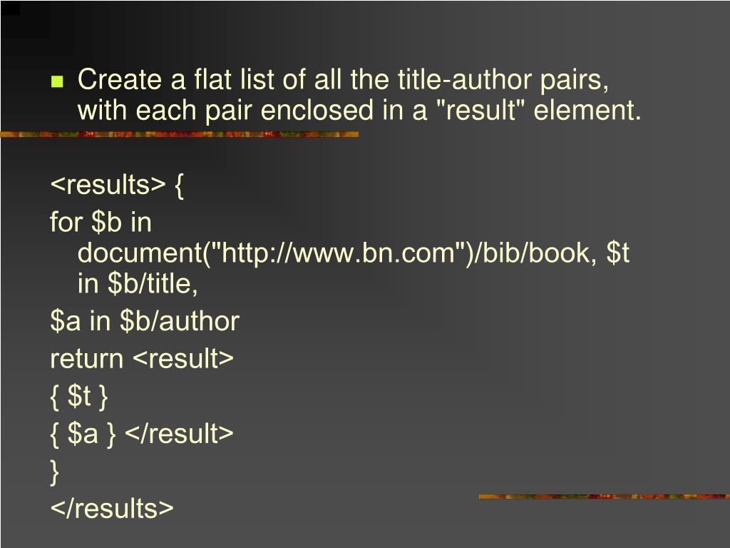 "Create a flat list of all the title-author pairs, with each pair enclosed in a ""result"" element."