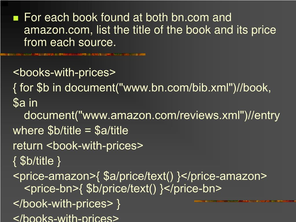 For each book found at both bn.com and amazon.com, list the title of the book and its price from each source.