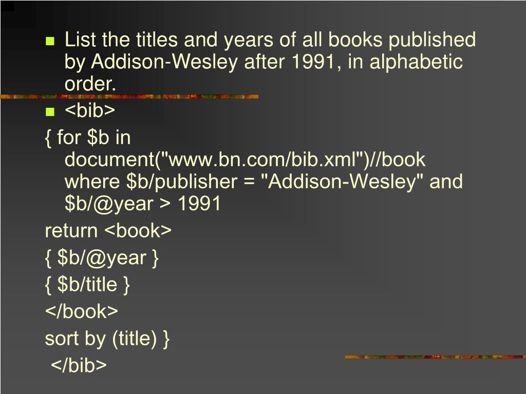List the titles and years of all books published by Addison-Wesley after 1991, in alphabetic order.