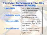 p 6 student performances in tsa 2006 weaknesses in reading