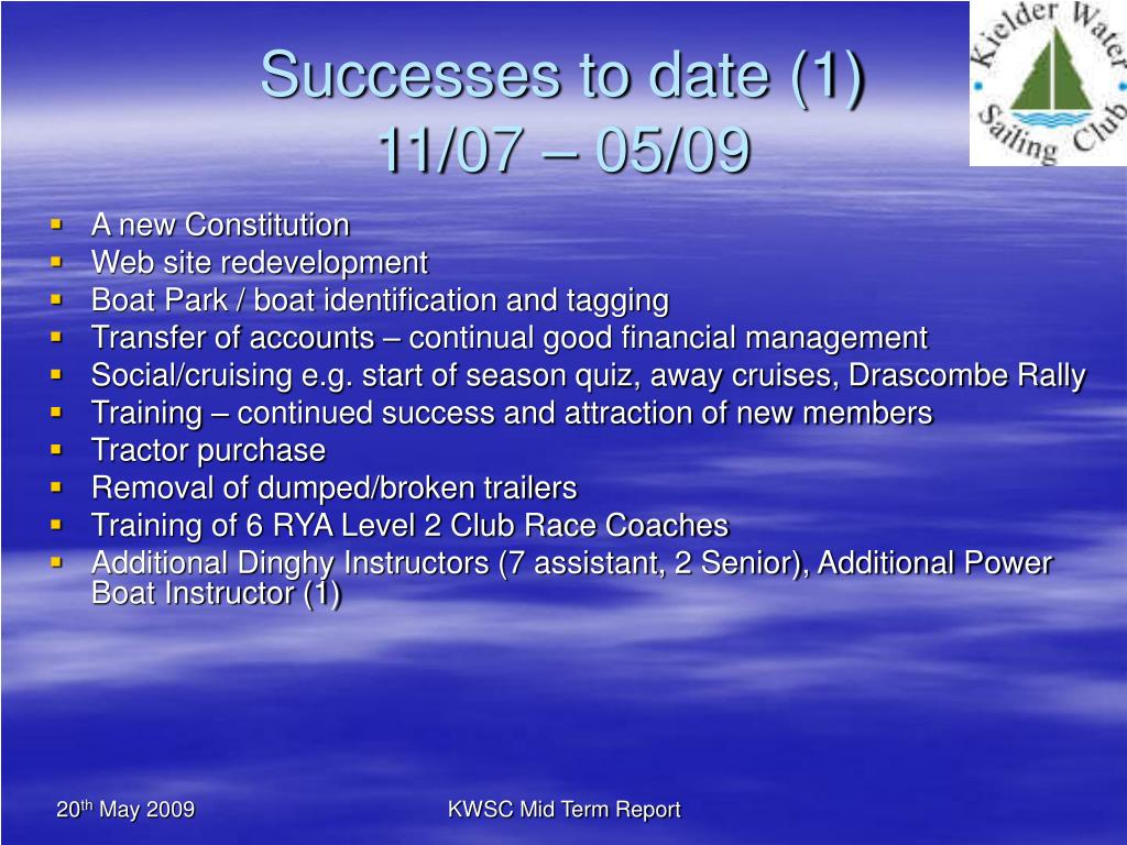 Successes to date (1)