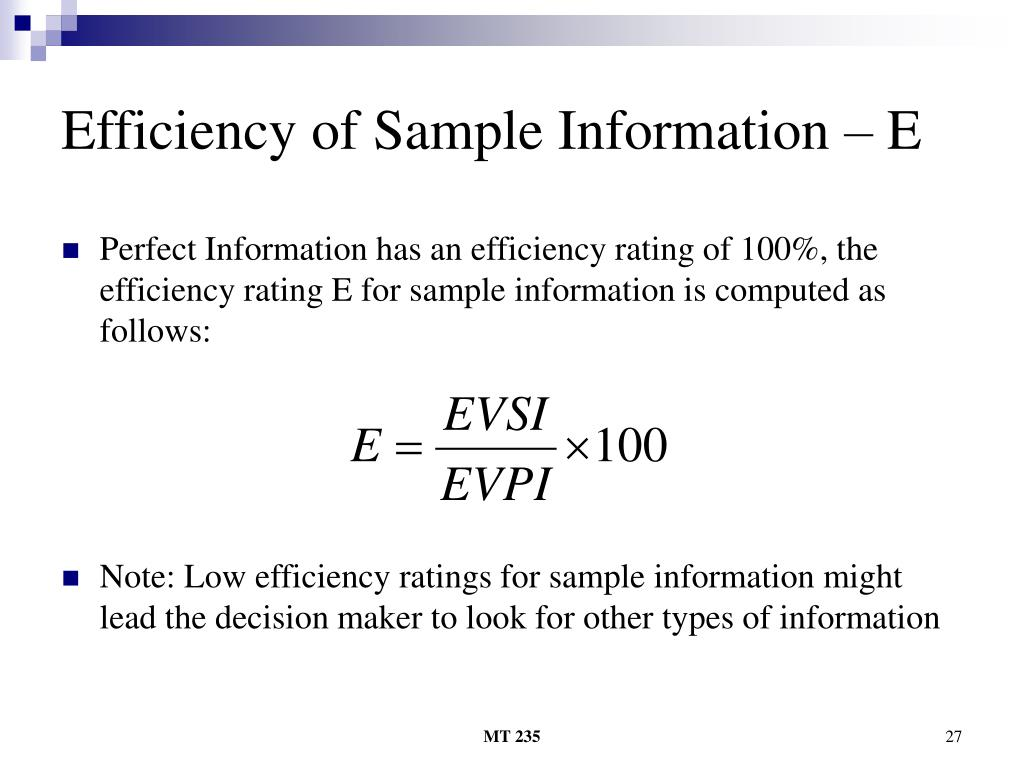 Efficiency of Sample Information – E
