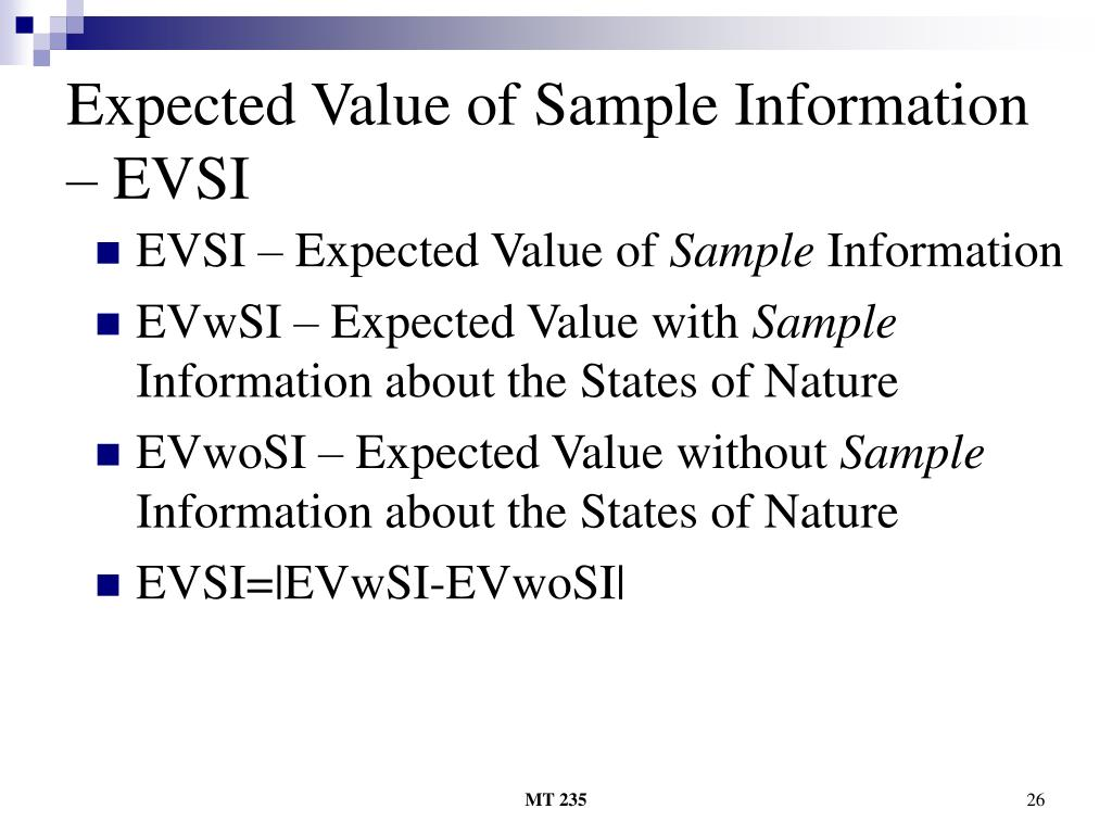 Expected Value of Sample Information – EVSI