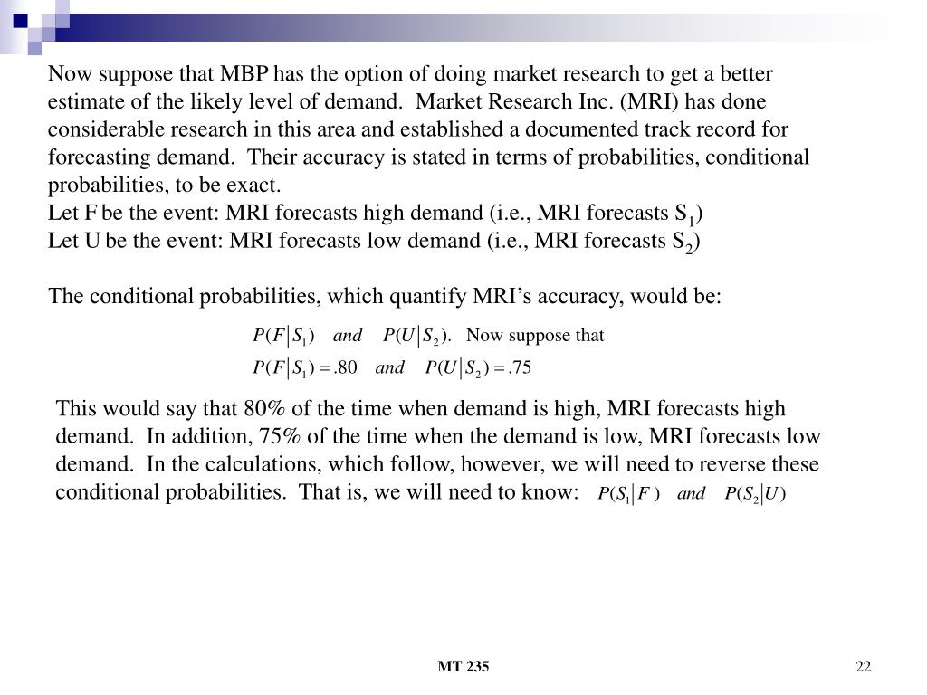 Now suppose that MBP has the option of doing market research to get a better estimate of the likely level of demand.  Market Research Inc. (MRI) has done considerable research in this area and established a documented track record for forecasting demand.  Their accuracy is stated in terms of probabilities, conditional probabilities, to be exact.