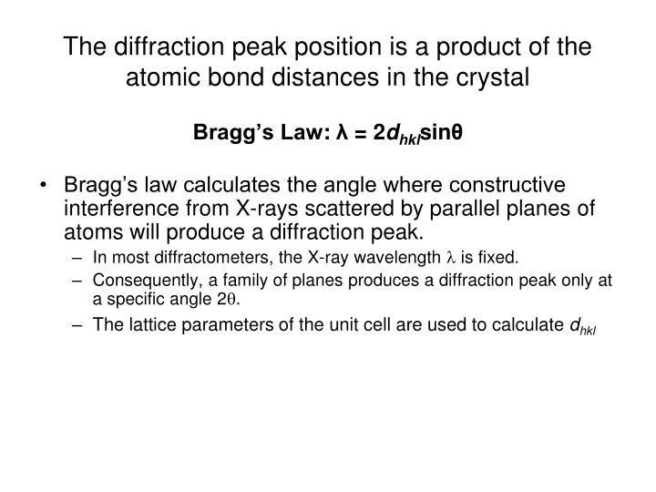 The diffraction peak position is a product of the atomic bond distances in the crystal