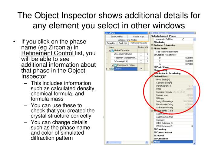 The Object Inspector shows additional details for any element you select in other windows