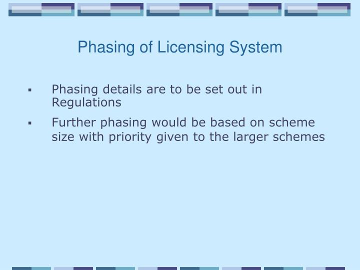 Phasing of Licensing System