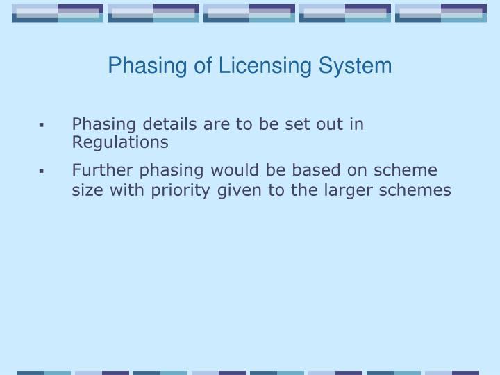 Phasing of Licensing System