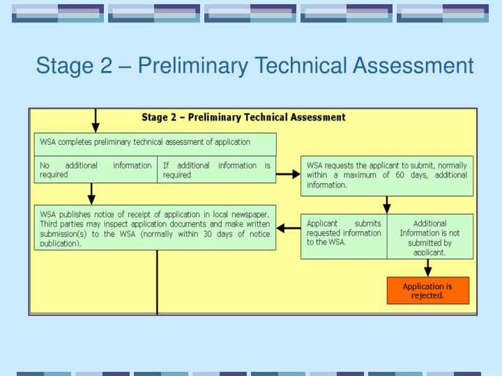 Stage 2 – Preliminary Technical Assessment