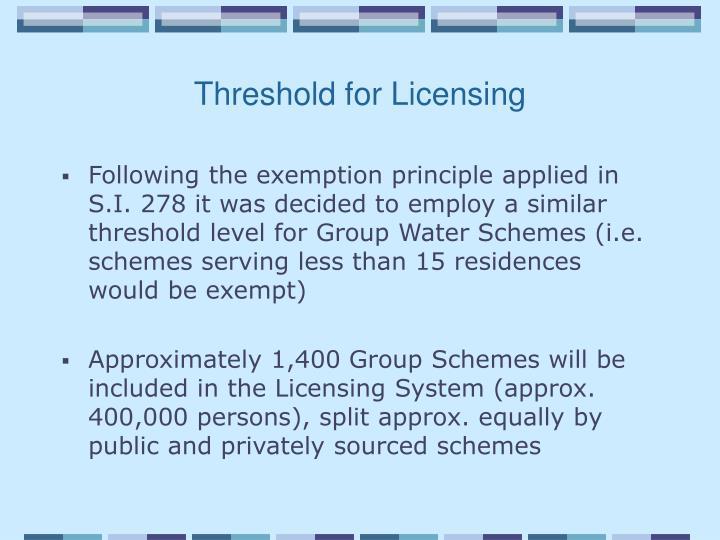 Threshold for Licensing