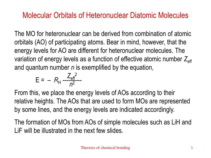 Molecular Orbitals of Heteronuclear Diatomic Molecules