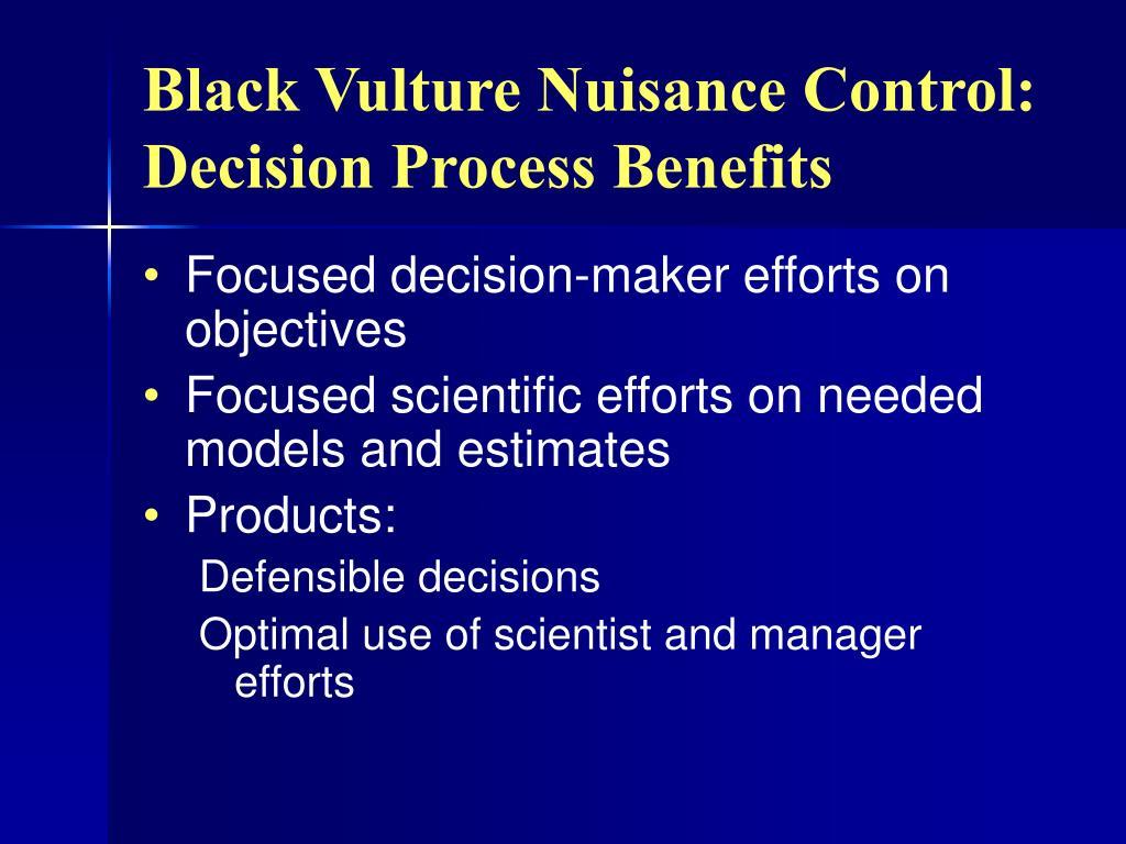 Black Vulture Nuisance Control: Decision Process Benefits