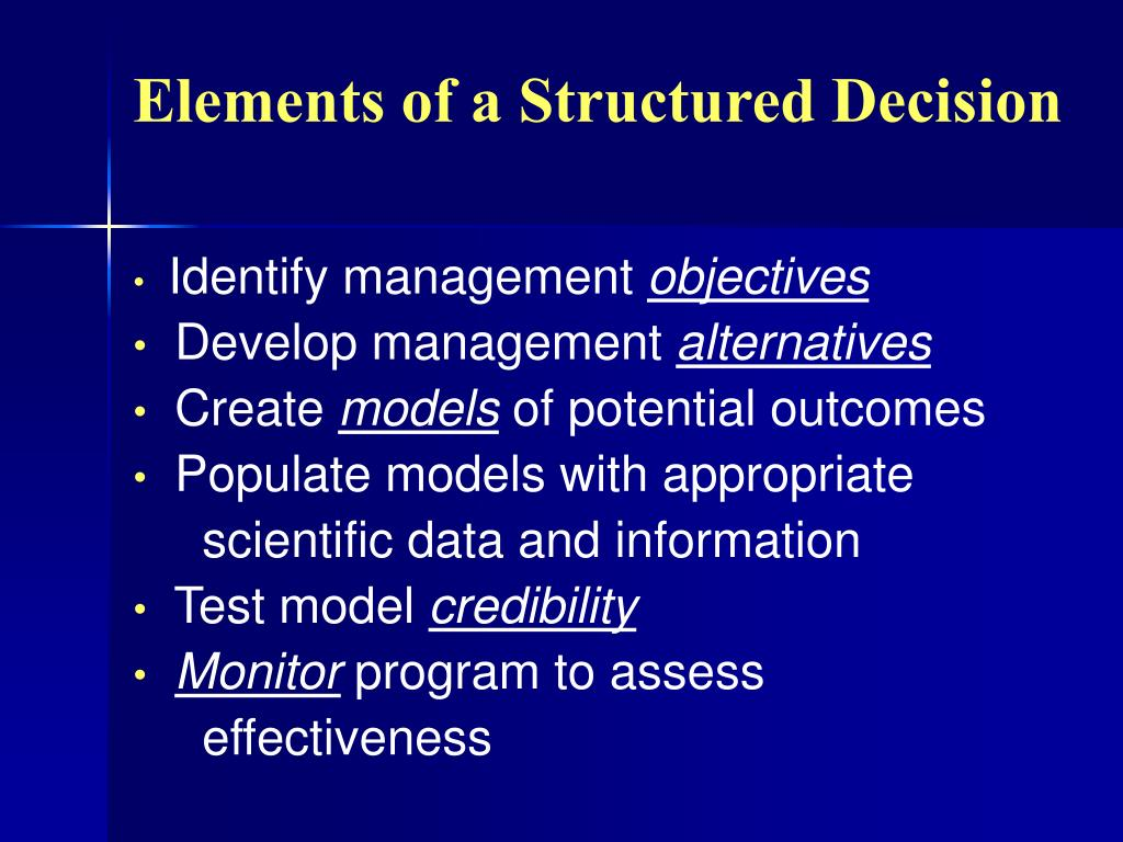 Elements of a Structured Decision
