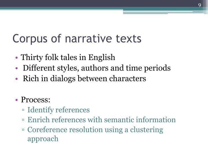 Corpus of narrative texts