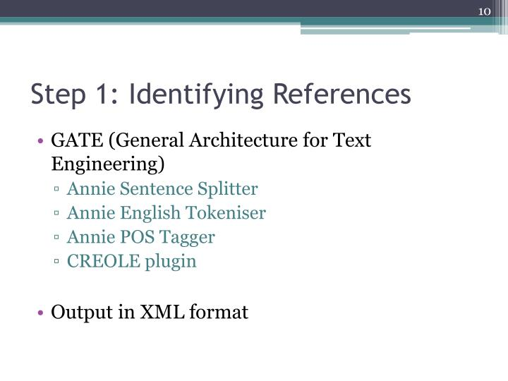 Step 1: Identifying References