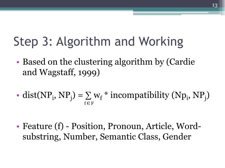 Step 3: Algorithm and Working