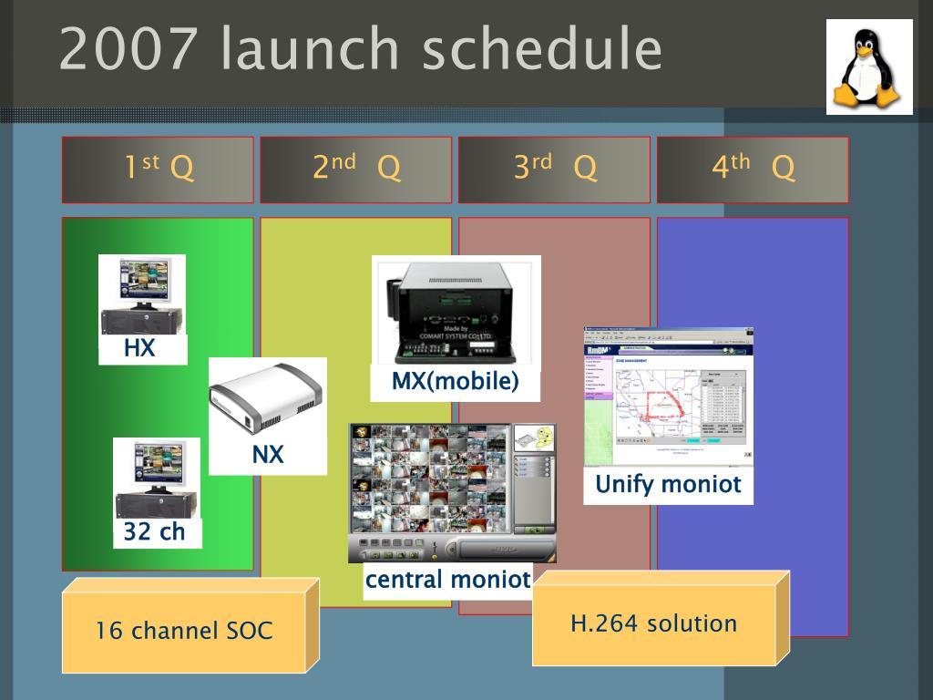 2007 launch schedule