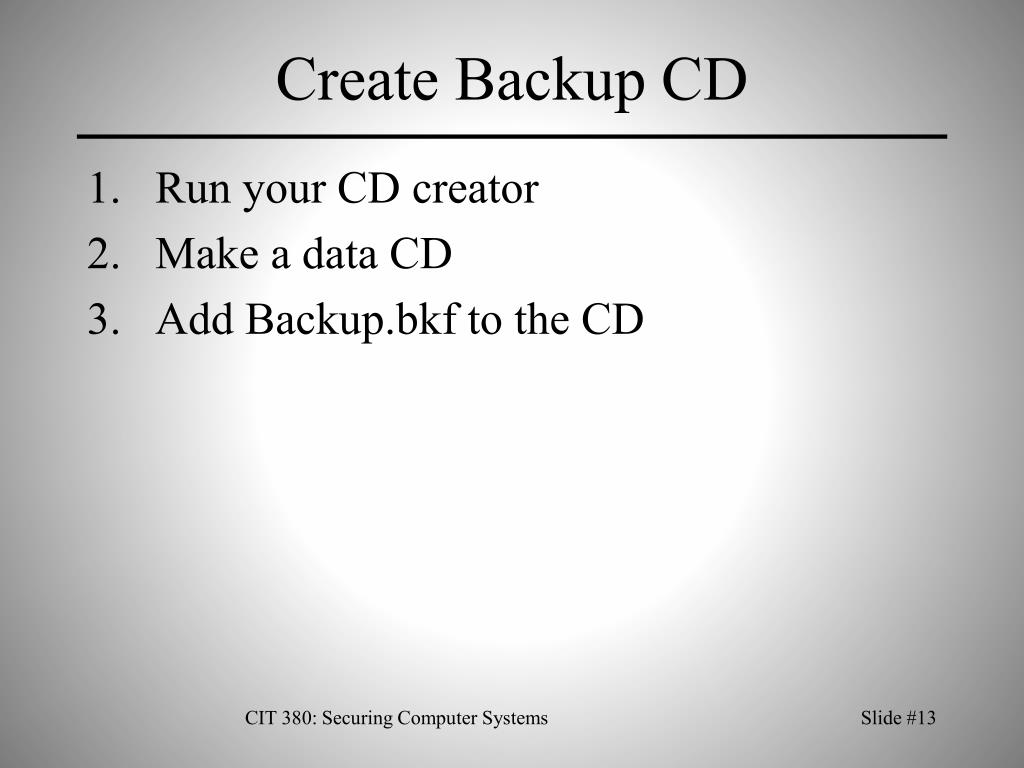 Create Backup CD