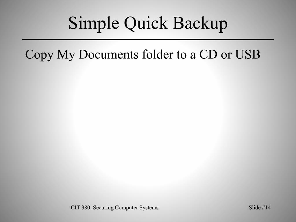 Simple Quick Backup