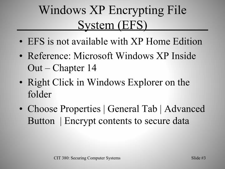 Windows xp encrypting file system efs