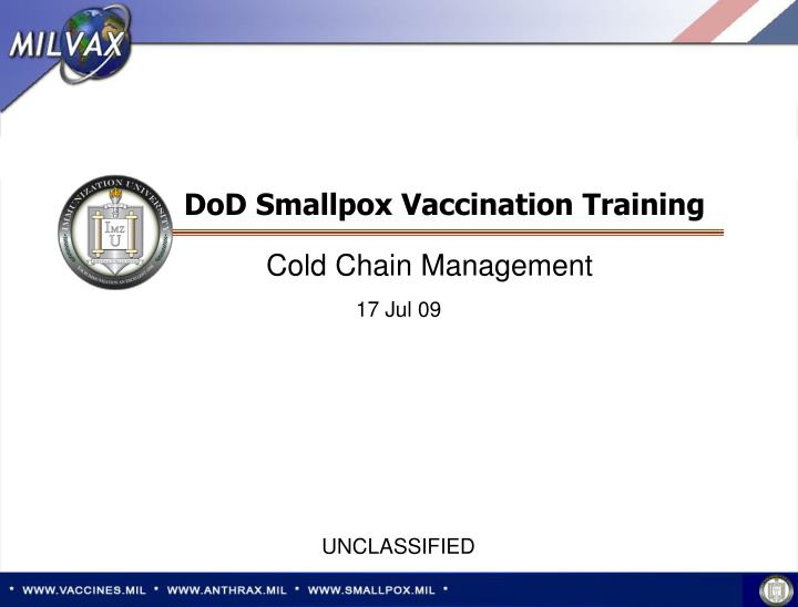 Dod smallpox vaccination training