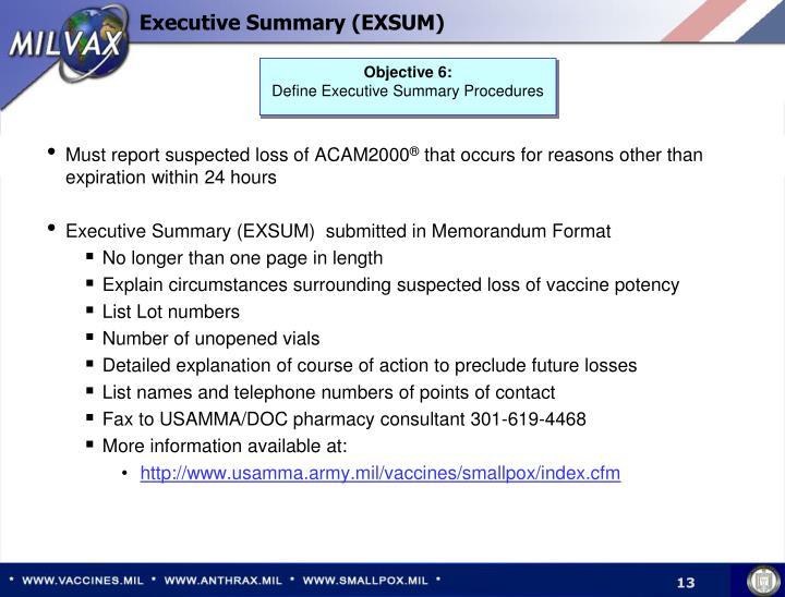 Executive Summary (EXSUM)