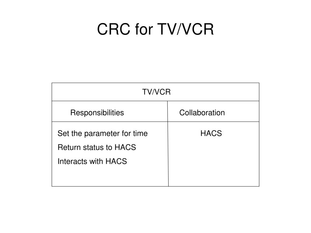 CRC for TV/VCR