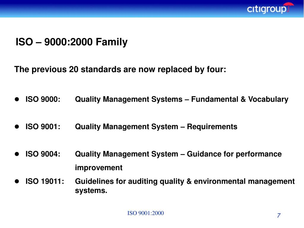ISO – 9000:2000 Family