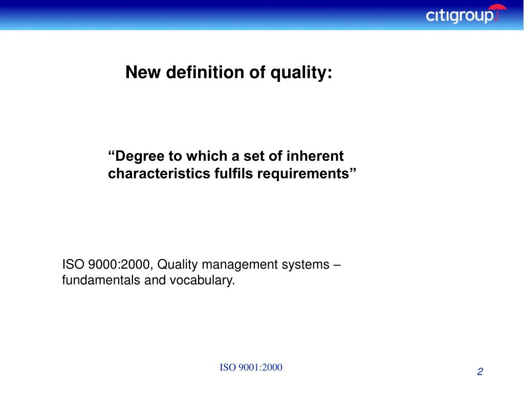 New definition of quality: