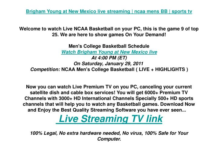Brigham Young at New Mexico live streaming | ncaa mens BB | sports tv