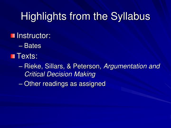 Highlights from the Syllabus