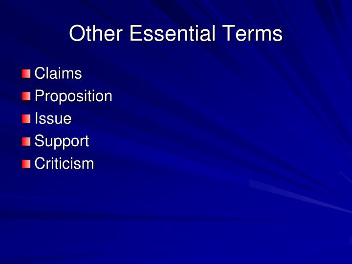 Other Essential Terms