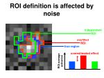 roi definition is affected by noise