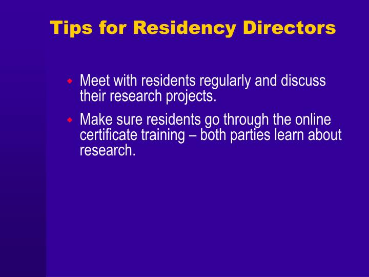 Tips for Residency Directors