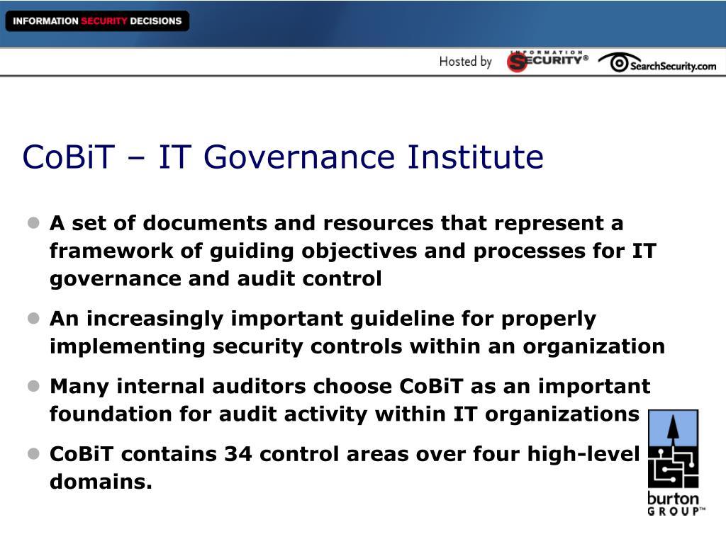 CoBiT – IT Governance Institute
