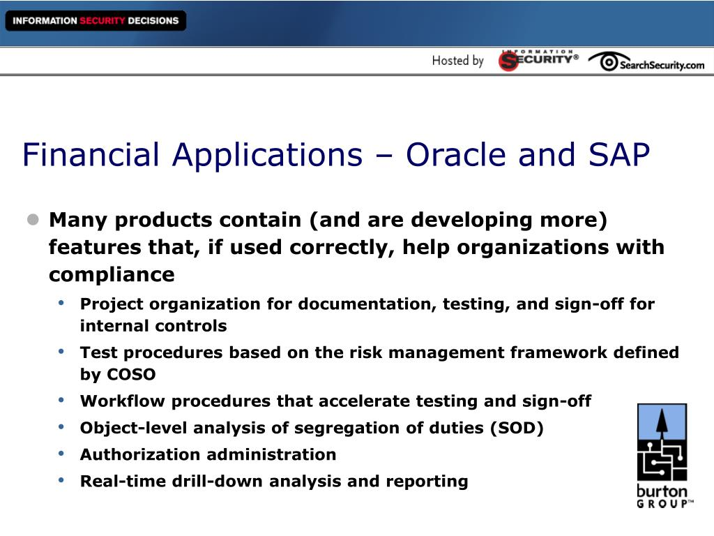 Financial Applications – Oracle and SAP